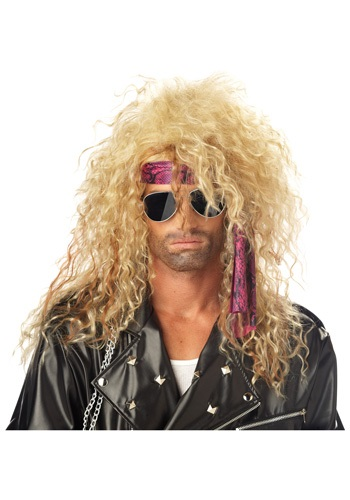 Blonde 80s Rock Star Wig Mens 80s Hair Band Wigs