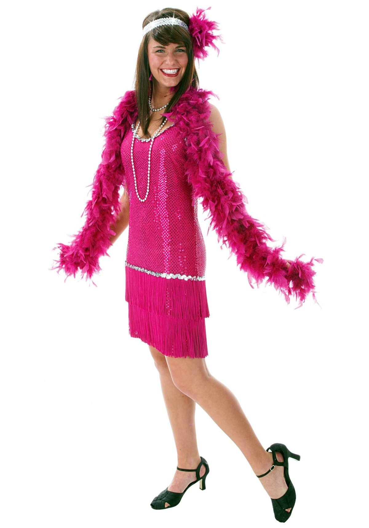 Sequin & Fringe Plus Size Fuchsia Flapper Costume
