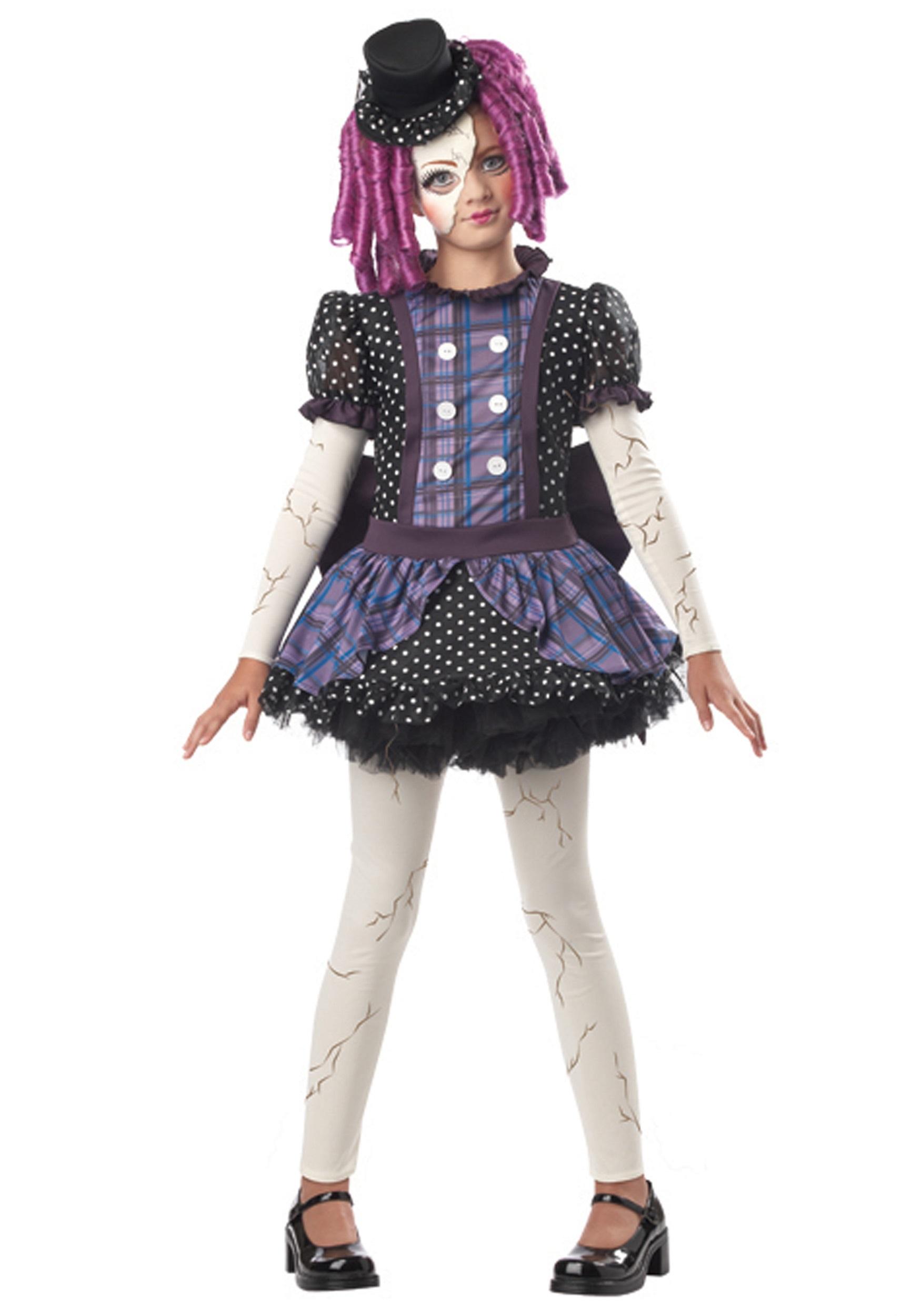 Girls Scary Broken Doll Costume