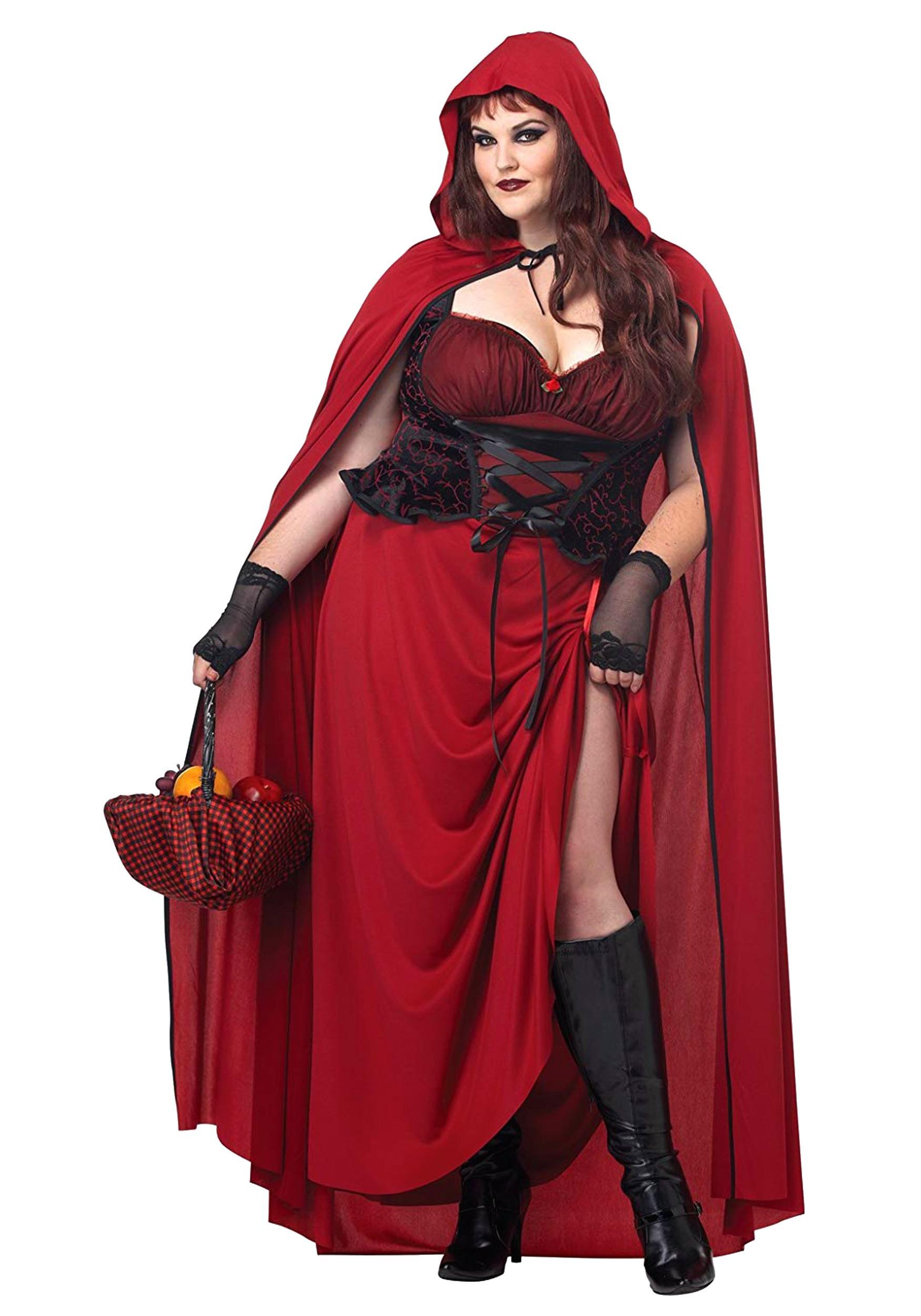 Dark Red Riding Hood Plus Size Costume