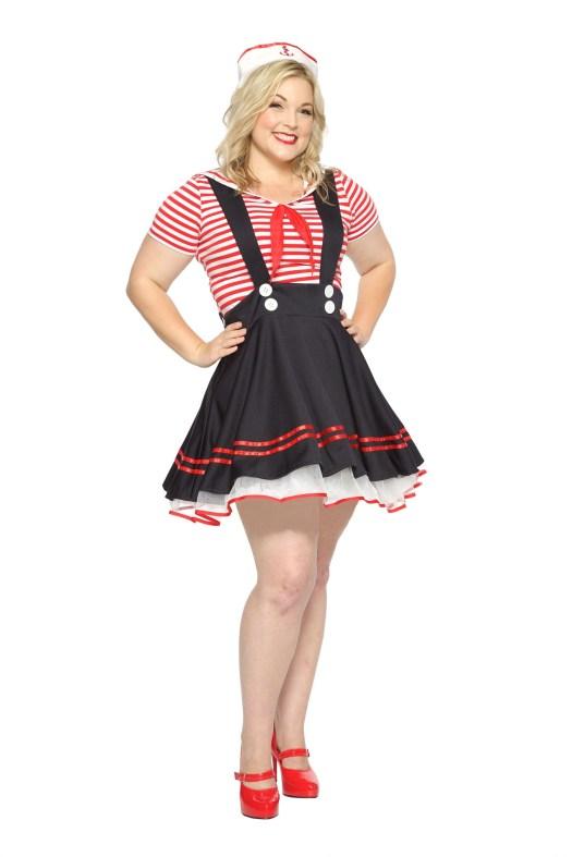 Women's Plus Size Retro Sailor Girl Costume 1X 2X