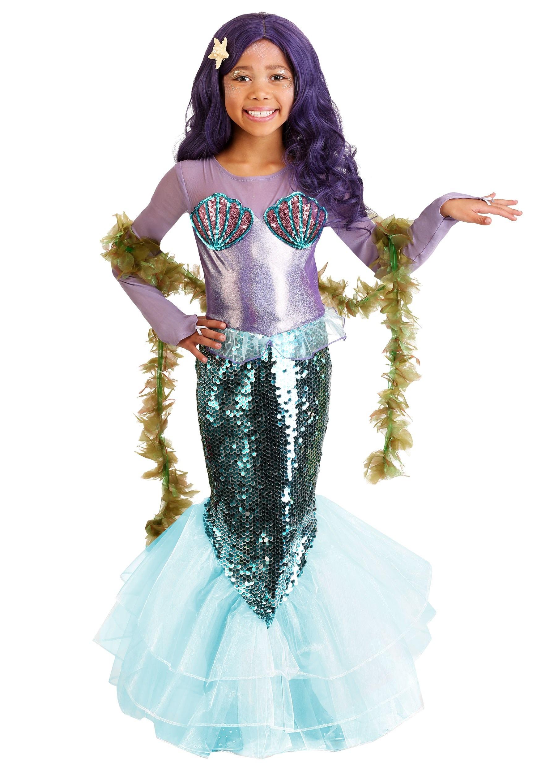Kids Pretty Purple Mermaid Costume