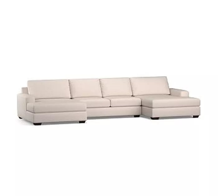 big sur square arm upholstered u double chaise sofa sectional with bench cushion down blend wrapped cushions performance chateau basketweave ivory