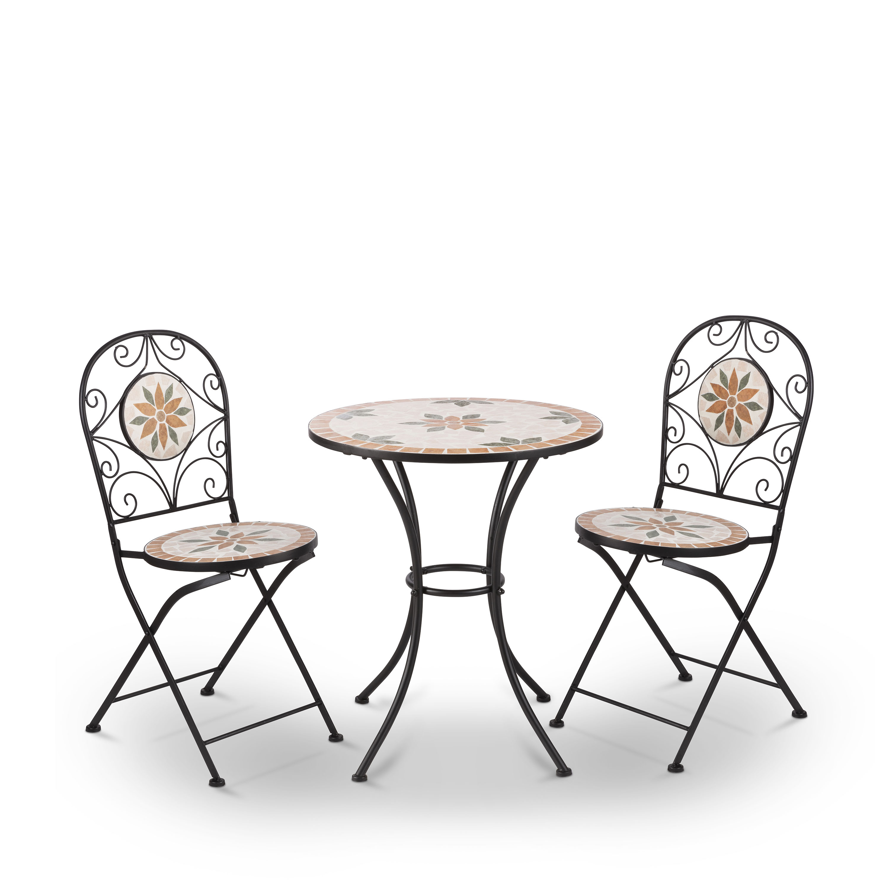 Alpine Mosaic Wrought Iron 3 Piece Bistro Set - Outdoor ... on Outdoor Living Iron Mosaic id=64162