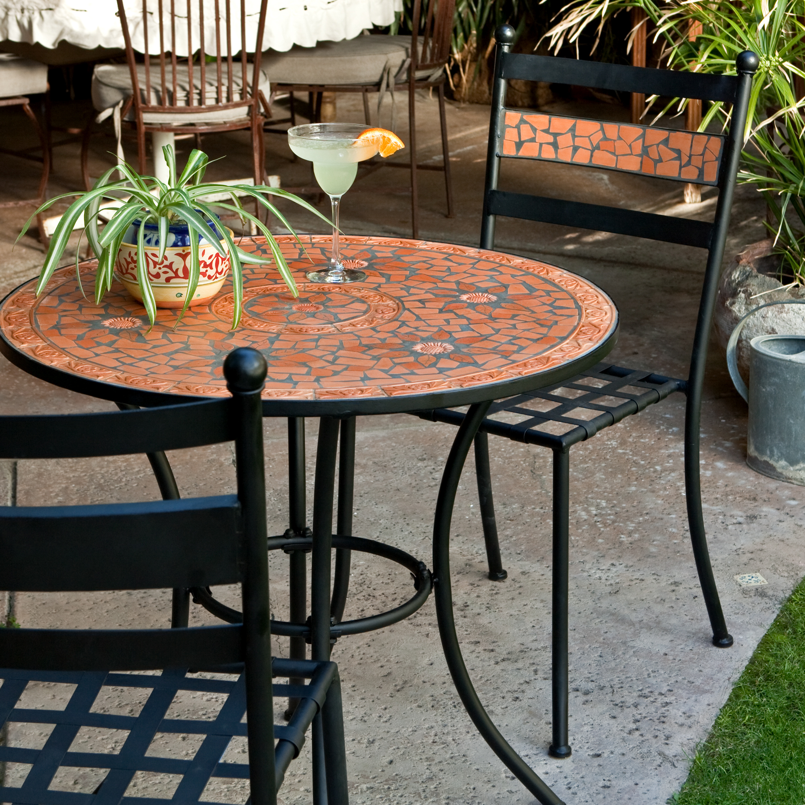 Coral Coast Terra Cotta Mosaic Bistro Set - Outdoor Bistro ... on Outdoor Living Iron Mosaic id=63076