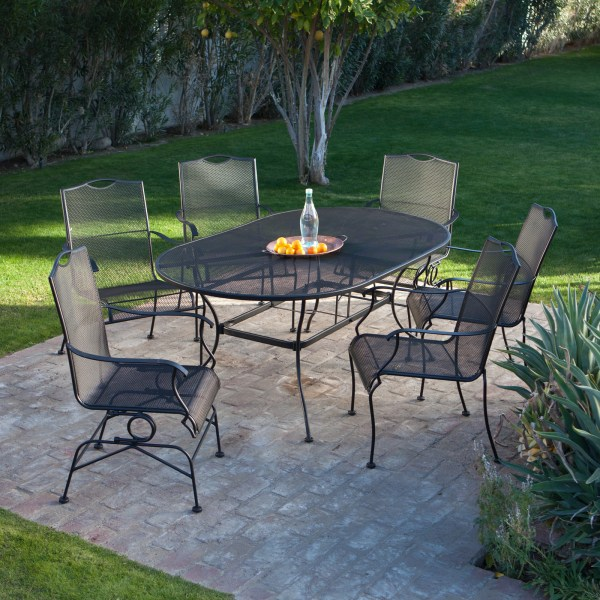 wrought iron patio dining sets Woodard Stanton Wrought Iron Dining Set - Seats 6 - Patio