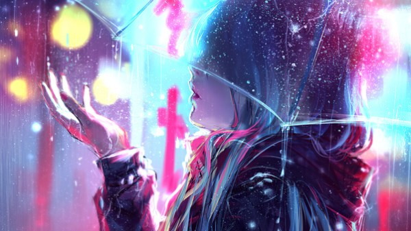 Raining Anime Girl Blur Lights 4k, HD Anime, 4k Wallpapers ...