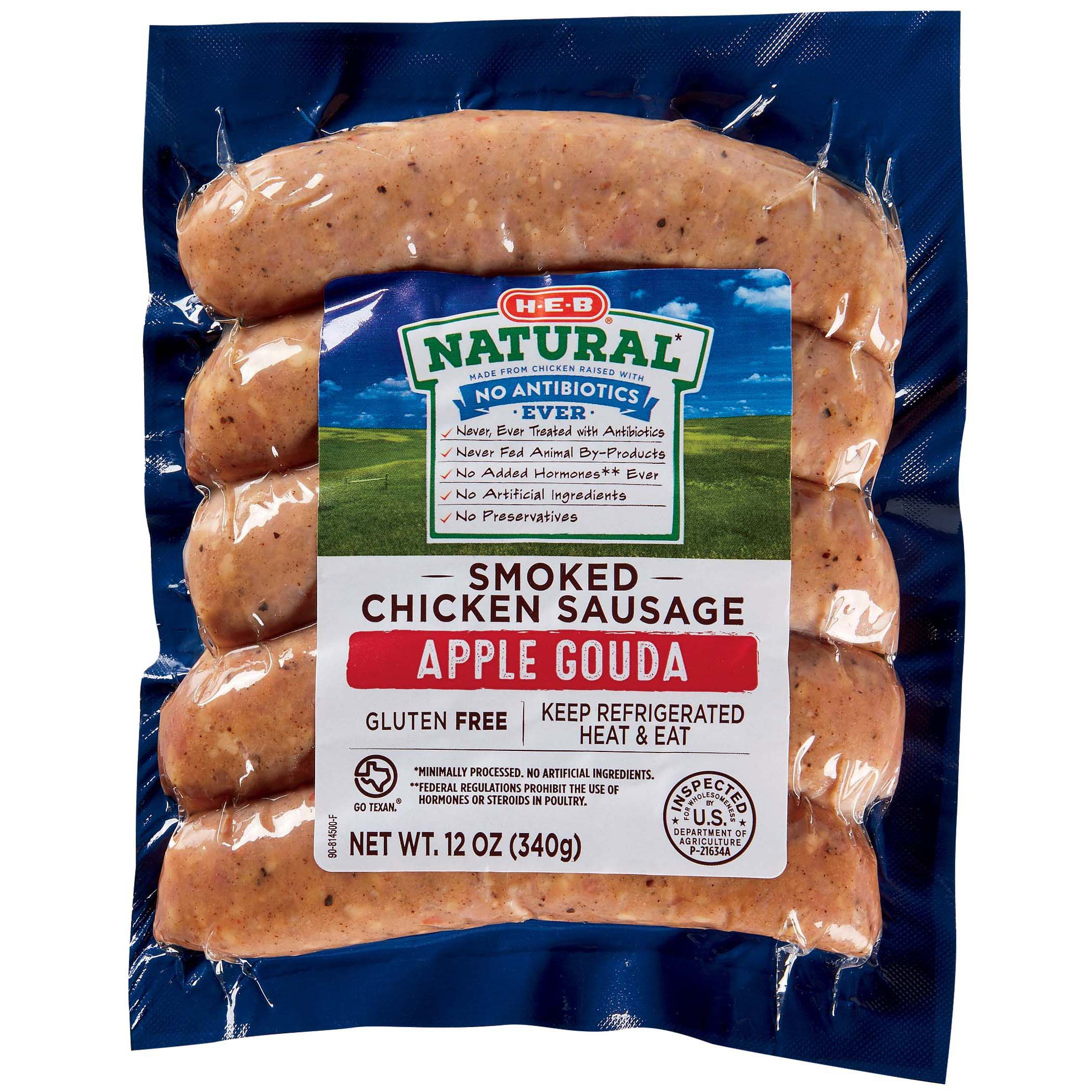 h e b chicken sausage with apple gouda