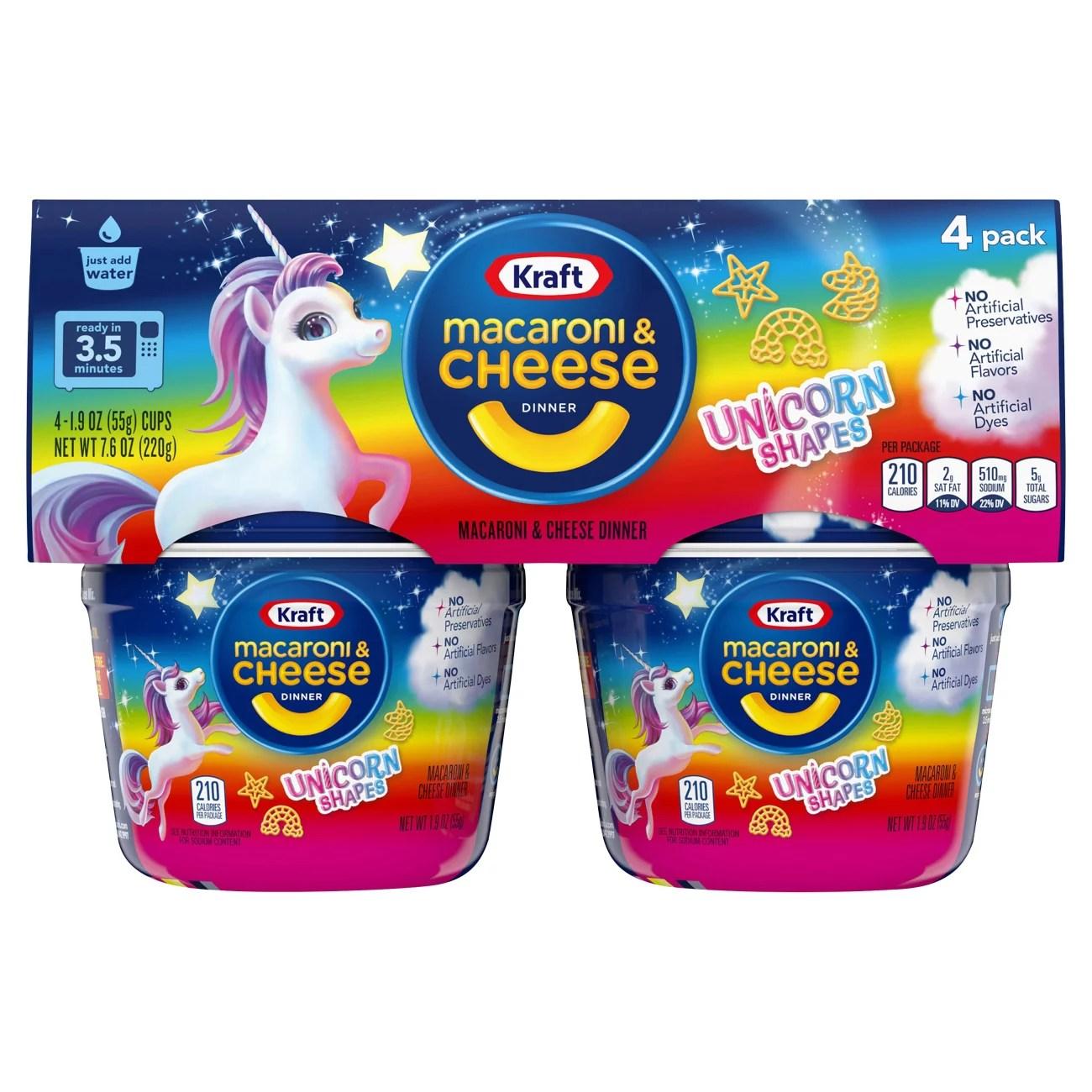 kraft unicorn shapes macaroni cheese cups