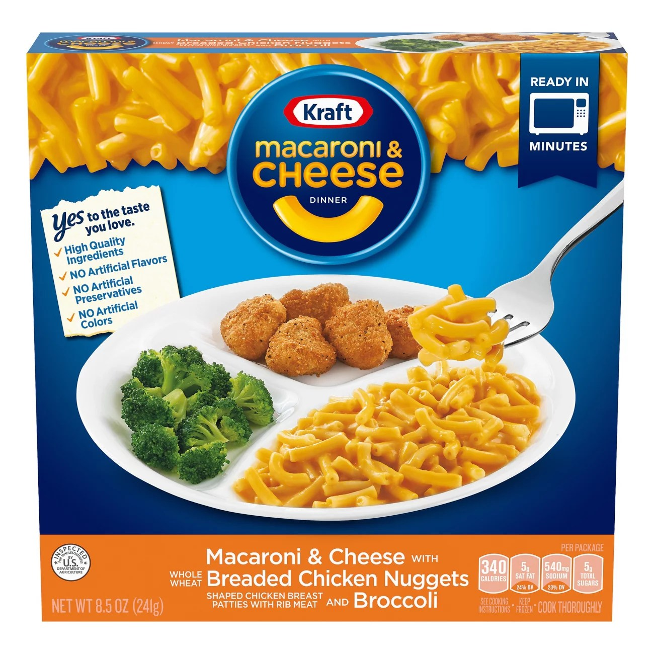 kraft macaroni cheese with breaded chicken nuggets broccoli dinner