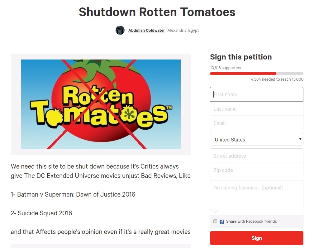 Image result for shut down rotten tomatoes change.org