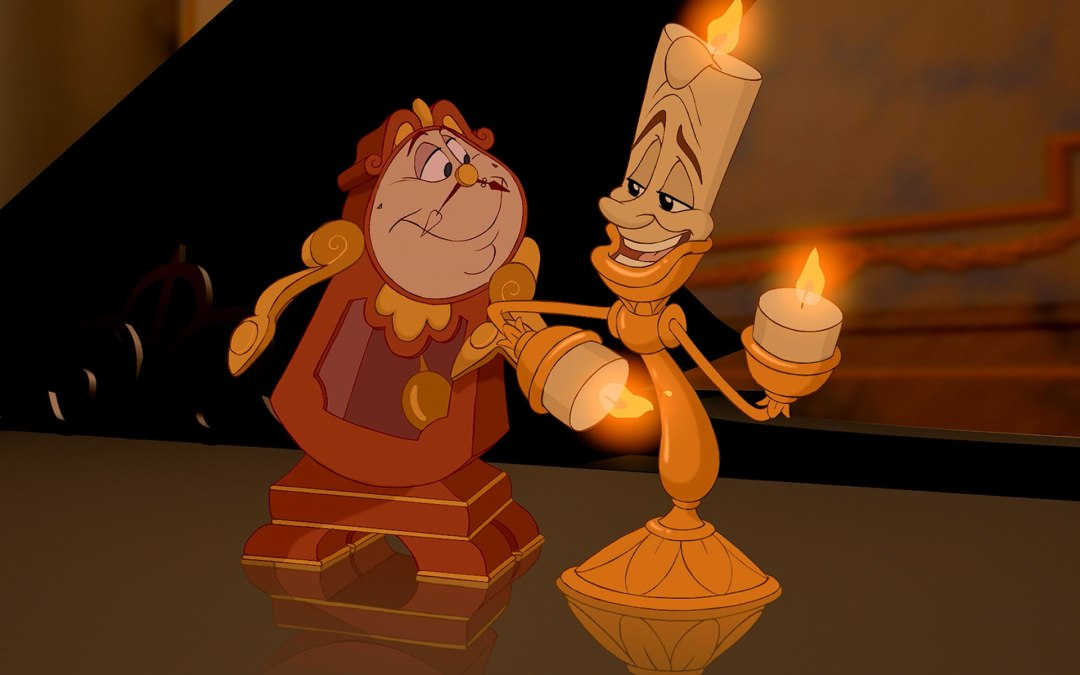 Resultado de imagem para beauty and the beast 1991 cogsworth and lumiere