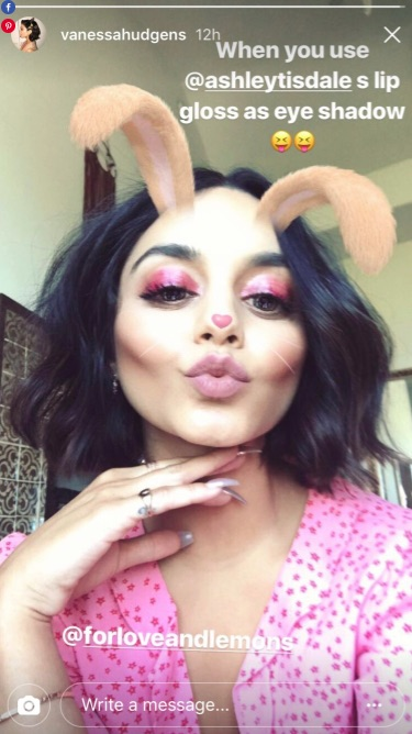 Vanessa Hudgens Used Pink Lip Gloss On Her Eyelids And It