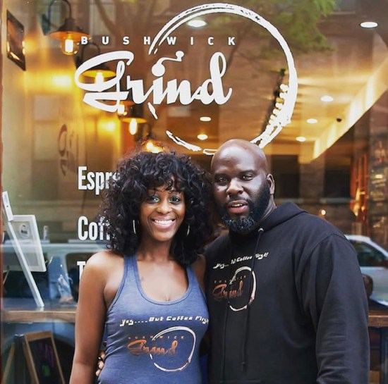 Photograph of Kymme Williams-Davis and Raymond Davis in front of Bushwick Grind