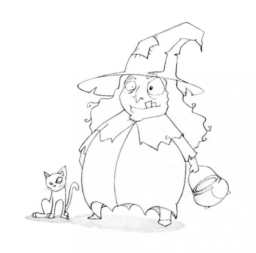 black cat and witch coloring pages  hellokids