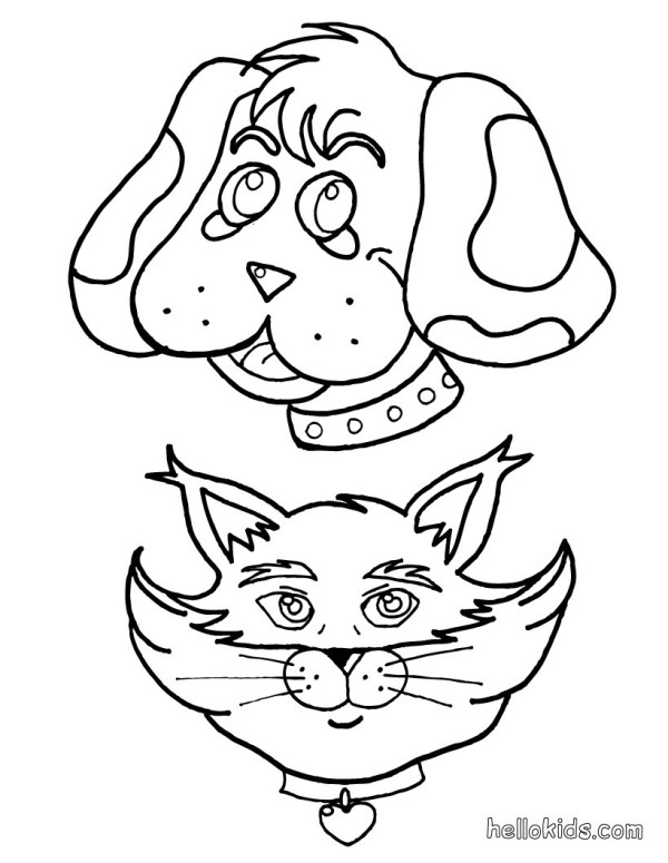 cat and dog coloring pages # 3