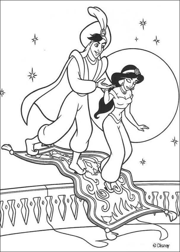 Jasmine Aladdin And Magic Carpet Coloring Page