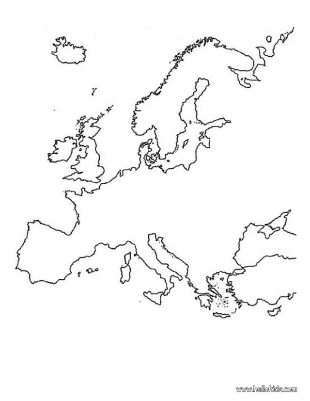 Europe map coloring pages - Hellokids.com