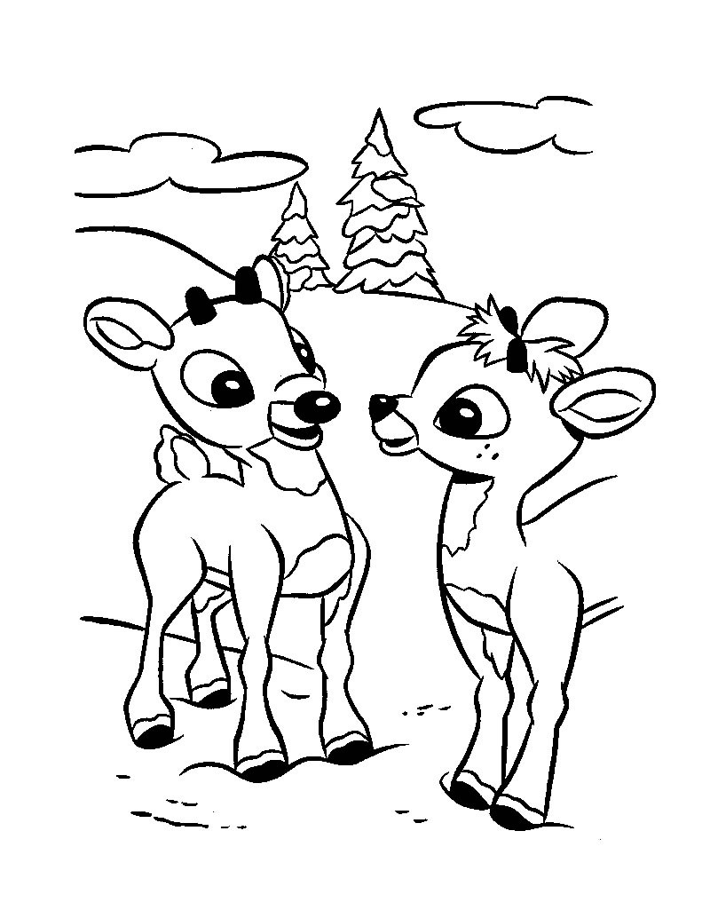Rudolph And Santa Sleigh Coloring Pages Hellokids
