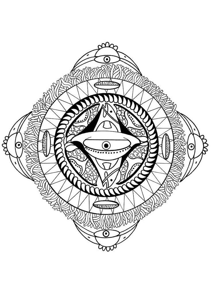 Polynesian Mandala With Face Bird And Fish Coloring Pages
