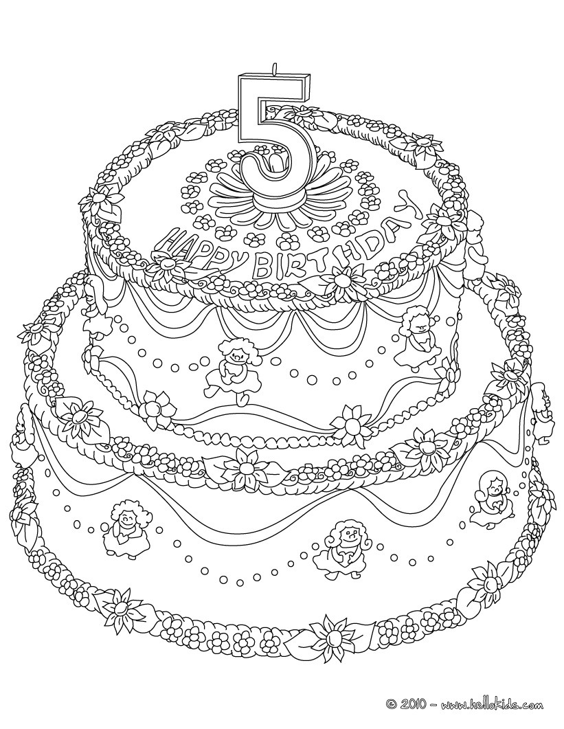 Birthday Cake 5 Years Coloring Pages Hellokids Com