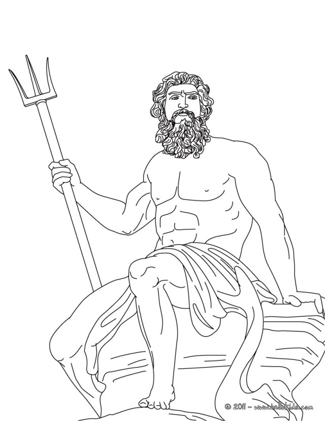 Poseidon the greek god of the sea coloring pages - Hellokids.com