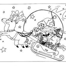 santa sleigh coloring page # 3