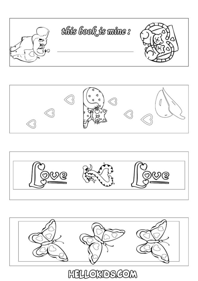 Valentine Coloring Bookmarks Printable | Coloring Page for kids