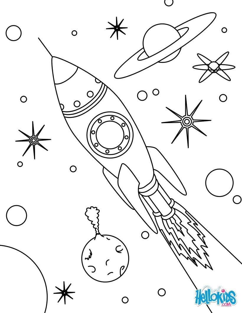 Rocket In Space Coloring Pages Hellokids Com