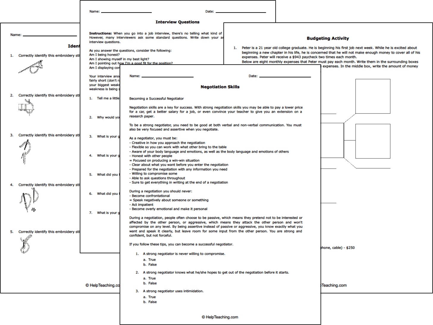 Free Life And Money Skills Worksheets
