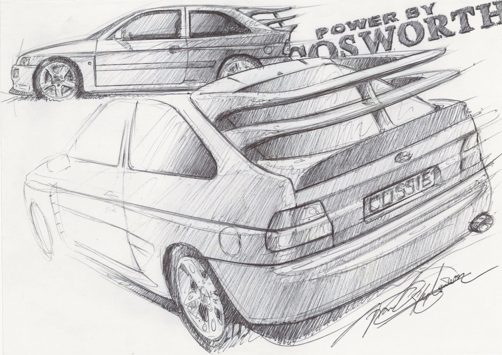 Frank Stephenson Ford Escort Cosworth sketch