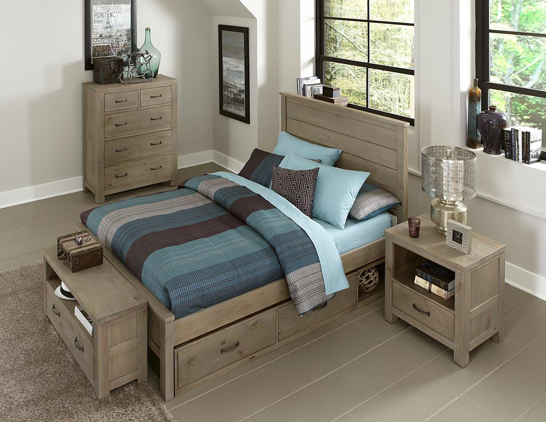 ne kids highlands alex bedroom set with storage driftwood