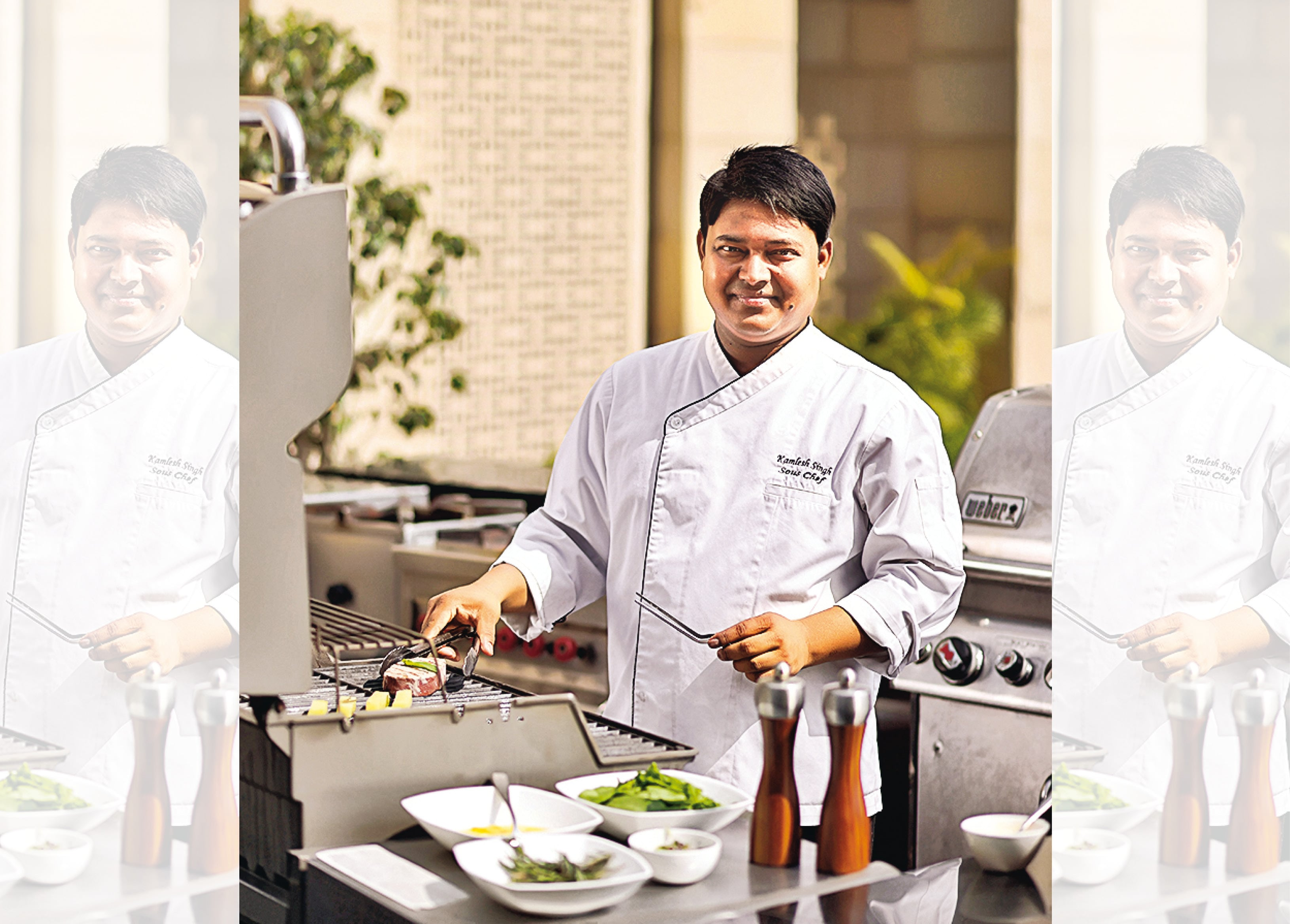 Chef Kamlesh Singh cooking live at The Lodhi hotel, New Delhi