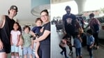 Sunny Leone's kids and husband Daniel Weber were seen at the airport.