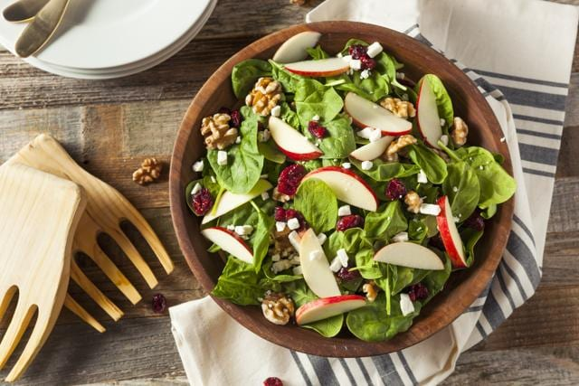 Homemade Walnut Spinach Salad with Cheese and Cranberries (Getty Images/iStockphoto)