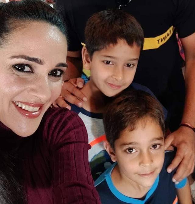 Tara Sharma with her kids