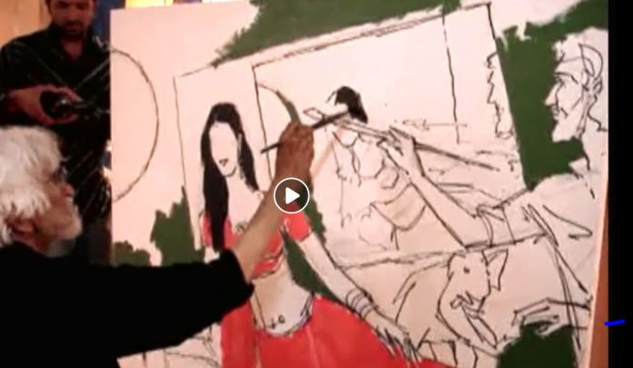 When MF Hussain painted Amrita Rao's potrait, and had himself in the painting as well.