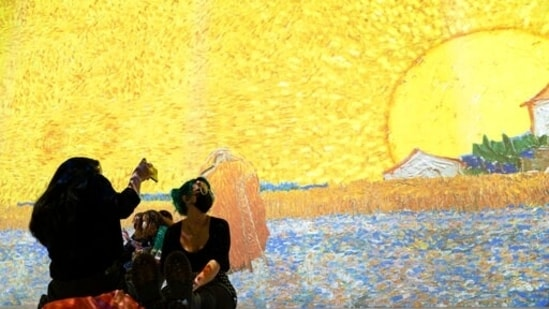 Projections of selected works of celebrated painter Vincent Van Gogh are displayed at a preview of the Immersive Van Gogh exhibit at Pier 36, Friday, June 4, 2021, in New York. (AP)