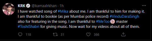 KRK tweets and deletes his reaction to Mika Singh's diss track.