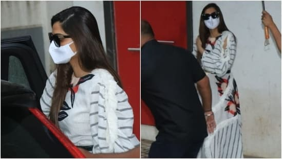 Bollywood's OG fashionista Sonam Kapoor was clicked by the paparazzi outside a clinic in Mumbai today. For the occasion, Sonam nailed monsoon dressing in a breezy white ensemble and looked absolutely chic.(Varinder Chawla)