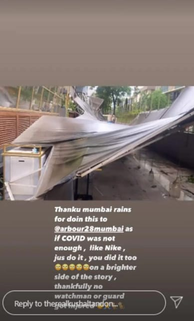 Kushal Tandon shared pictures of his restaurant, post the rains.