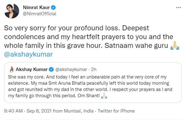 Akshay Kumar's mother Aruna Bhatia passed away on Wednesday.