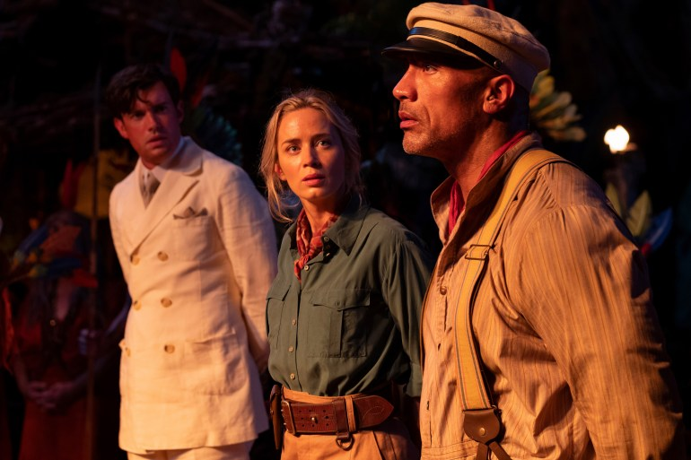This file image provided by Disney shows, from left, Jack Whitehall, Emily Blunt and Dwayne Johnson in a scene from Jungle Cruise (AP).
