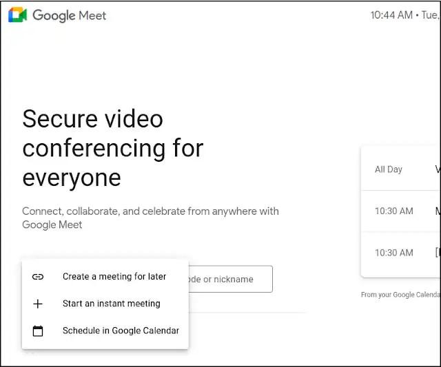 Google Meet new options to start a meeting.