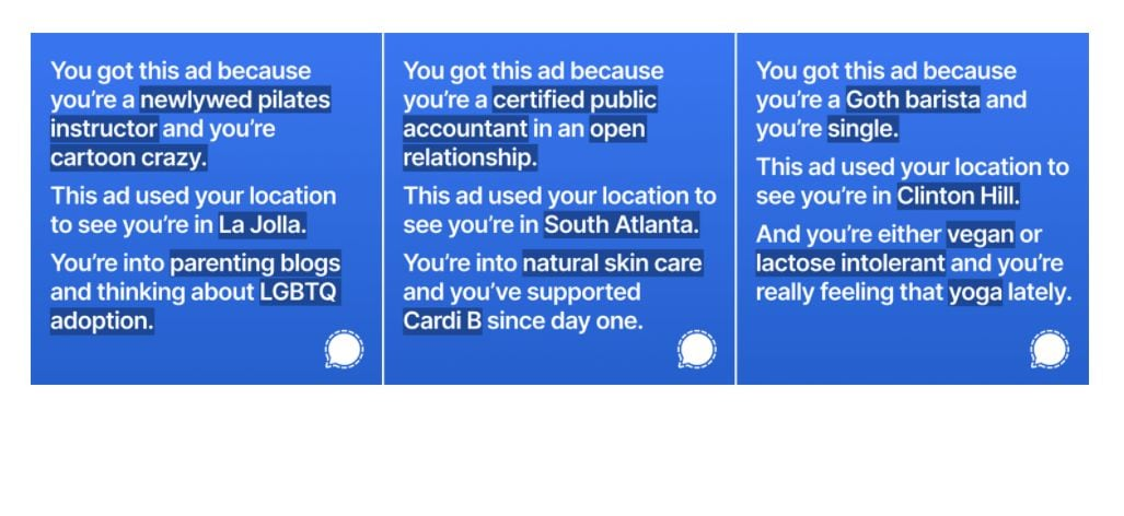 Signal shares some examples of the targeted ads that did not run on Instagram