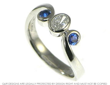 Platinum Wave Inspired Diamond And Sapphire Engagement Ring