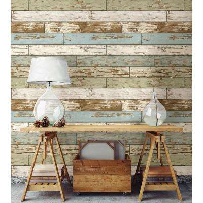 Wood   Wallpaper   Decor   The Home Depot     Multi Color Old Salem Vintage Wood Peel and Stick Wallpaper