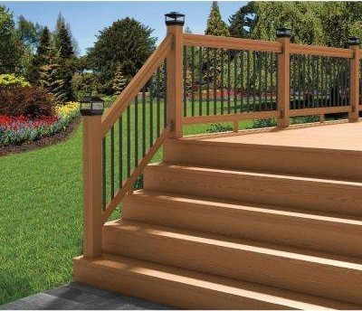 Wood Deck Stair Railings Deck Railings The Home Depot | Wood Handrail Home Depot | Redwood Deck Railing | Treated Lumber | Deck Stair Handrail | Outdoor | Oak Stair