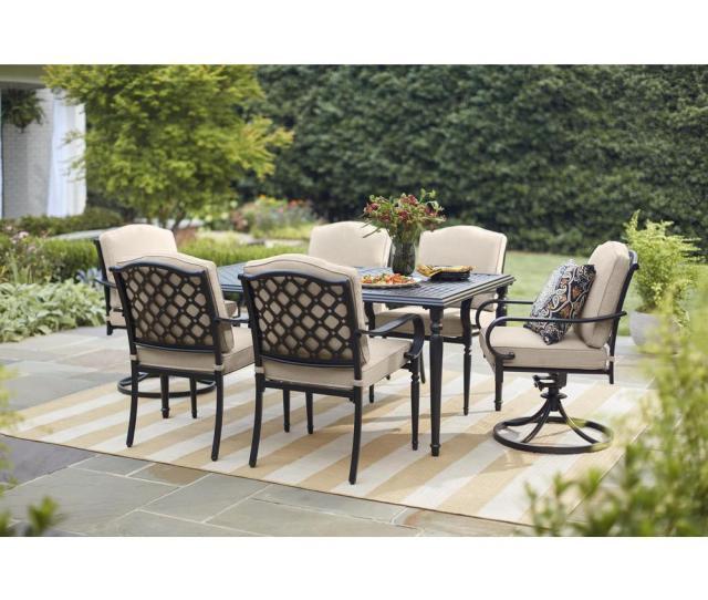 Hampton Bay Laurel Oaks Black  Piece Outdoor Dining Set With Beige Cushions