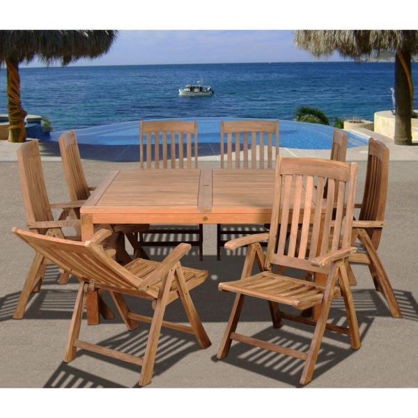 teak patio furniture sets Amazonia Eiffel Square 9-Piece Solid Teak Patio Dining Set